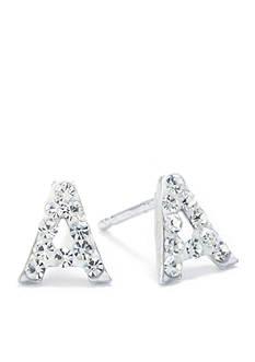 Belk Silverworks Sterling Silver Clear Crystal Pave Letter A Stud Earrings