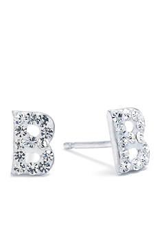 Belk Silverworks Sterling Silver Clear Crystal Pave Letter B Stud Eearrings