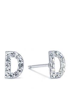 Belk Silverworks Sterling Silver Clear Crystal Pave Letter 'D' Stud Earrings