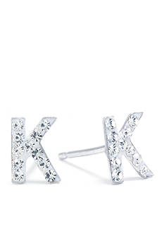 Belk Silverworks Sterling Silver Clear Crystal Pave Letter K Stud Earrings