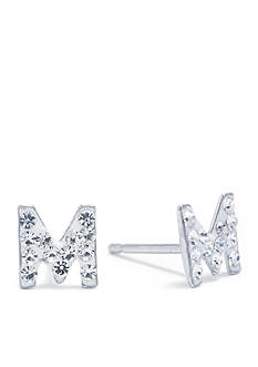 Belk Silverworks Sterling Silver Clear Crystal Pave Letter M Stud Earrings
