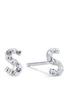 Belk Silverworks Sterling Silver Clear Crystal Pave Letter S Stud Earrings