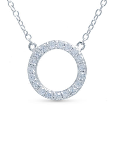 evie & emma Silver Pave Open Circle Necklace