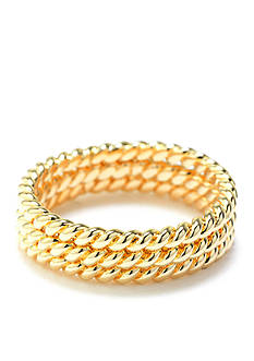 evie & emma Gold Over Fine Silver Plate 3-Piece Twisted Band Ring Set