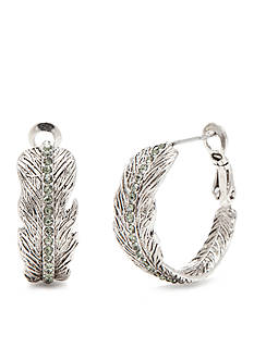 Vera Bradley Silver-Tone Feather Hoop Earrings