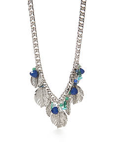 Vera Bradley Silver-Tone Feather Collar Chain Necklace
