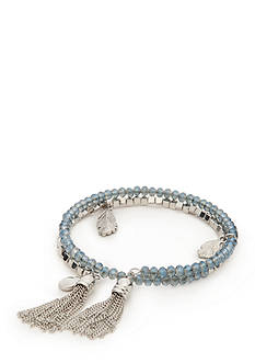 Vera Bradley Silver-Tone and Blue Wrap Feather Charm Coil Bracelet