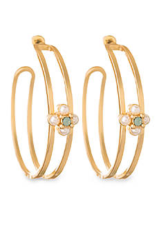 spartina 449 Gold-Tone Clover Hoop Earring