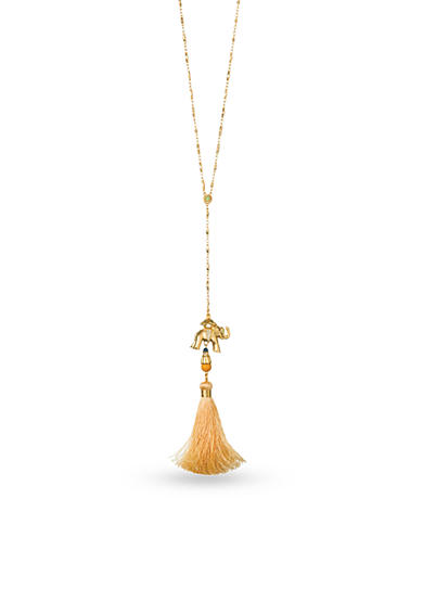 spartina 449 18K Gold-Plated Elephant Tassel Y Necklace