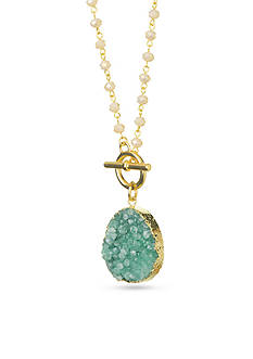 spartina 449 18K Gold-Plated Druzy Beaded Pendant Necklace