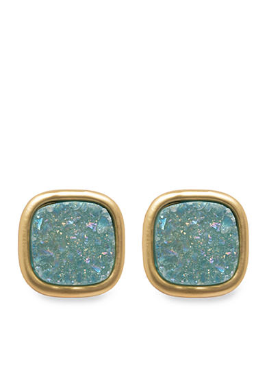 spartina 449 Gold-Tone Sea La Vie Sea Foam Druzy Stud Earrings
