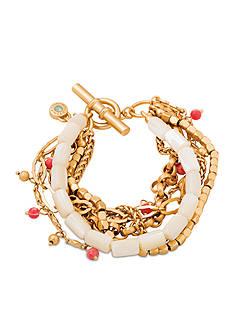 spartina 449 Gold-Tone Cream Boho Chic Toggle Bracelet