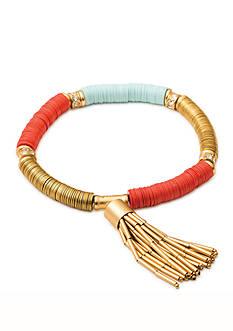 spartina 449 Gold-Tone Sequin Pink Tassel Stretch Bracelet