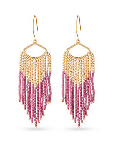 spartina 449 Gold-Tone Pink Beaded Chandelier Earrings