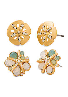 spartina 449 Gold-Tone Sea Stud Sand Dollar and Starfish Earrings Set