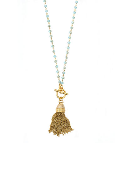 spartina 449 18K Gold-Plated Beaded Tassel Pendant Necklace