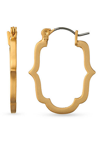 spartina 449 18K Gold-Plated Mini Skinny Cartouche Hoop Earrings