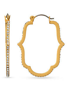 spartina 449 18K Gold-Plated Skinny Crystal Cartouche Hoop Earrings
