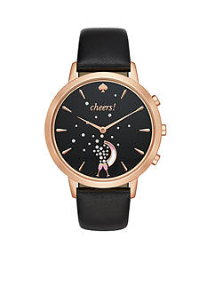 kate spade new york® Rose Gold-tone and Black Leather Metro Hybrid Smartwatch