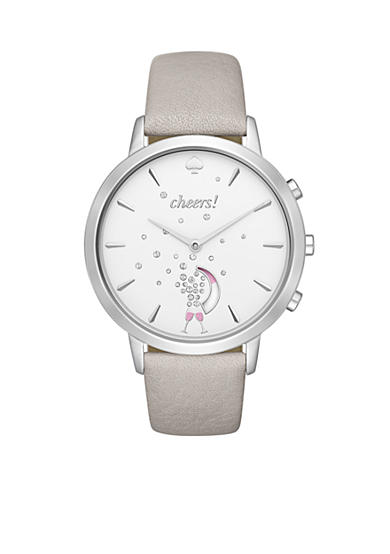 kate spade new york® Stainless-Steel and Grey Leather Metro Hybrid Smartwatch