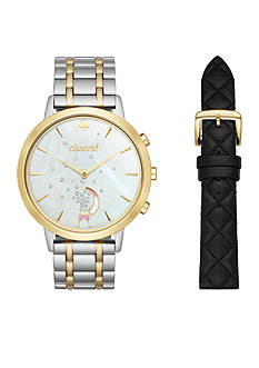 kate spade new york Two-Tone Bracelet and Black Leather Strap Metro Hybrid Smartwatch Gift Set