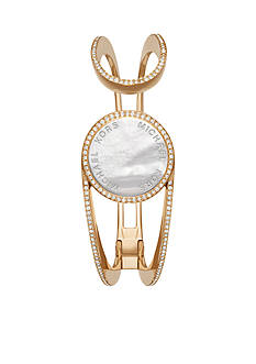 Michael Kors Ladies' Gold-Tone, Clear Pav and White Mother-of-Pearl Tracker Bracelet