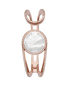 Michael Kors Ladies' Rose Gold-Tone, Clear Pav and White Mother-of-Pearl Tracker Bracelet