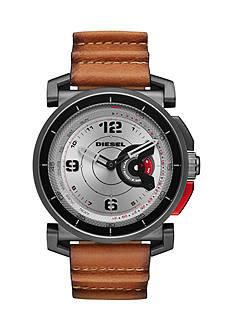 Men's Gun Metal DieselOn Time Leather Hybrid Smartwatch