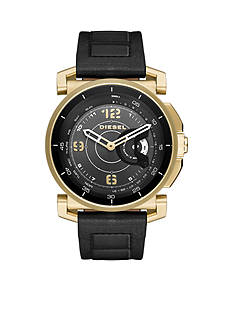 Men's Gold-Tone DieselOn Time Leather Hybrid Smartwatch