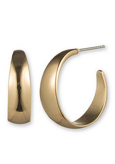 Gloria Vanderbilt Gold-Tone Basic C Hoop Earrings