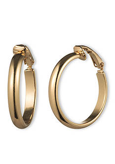 Gloria Vanderbilt Gold-Tone Basic Hoop Earrings
