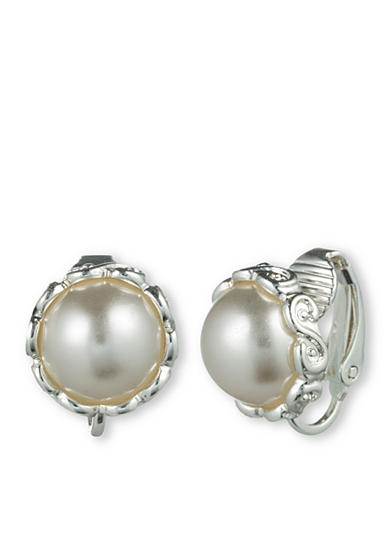 Gloria Vanderbilt Silver-Tone Basic Pearl Earrings