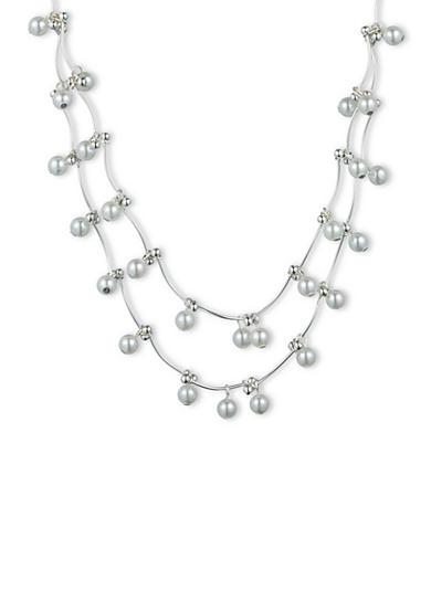 Gloria Vanderbilt Silver-Tone Basic Pearl Shaky Necklace
