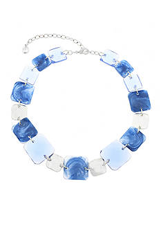 Gloria Vanderbilt Silver-Tone Basic Beaded Blue Necklace