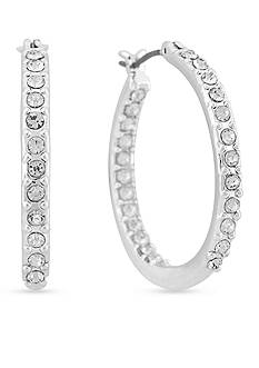 Gloria Vanderbilt Silver-Tone Basic Hoop Earrings