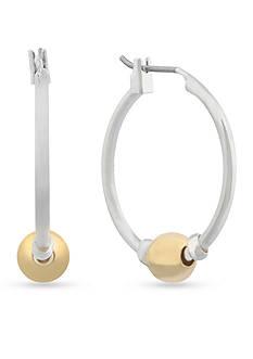 Gloria Vanderbilt Silver-Tone Basic Hoop With Ball Earrings