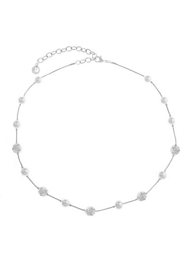 Gloria Vanderbilt Silver-Tone Basic Pearl Ball Necklace 16-in.