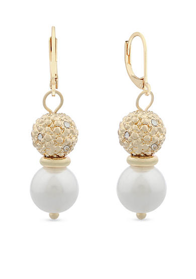 Gloria Vanderbilt Gold-Tone Basic Drop Pearl Ball Earrings