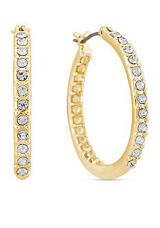 Gloria Vanderbilt Gold-Tone Basic Large Pave Hoop Earrings