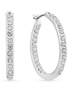 Gloria Vanderbilt Silver-Tone Basic Click Pave Hoop Earrings