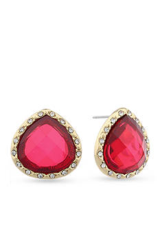 Gloria Vanderbilt Gold-Tone Claret Teardrop Stud Earrings