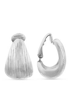 Gloria Vanderbilt Silver-Tone Hoop Clip Earrings