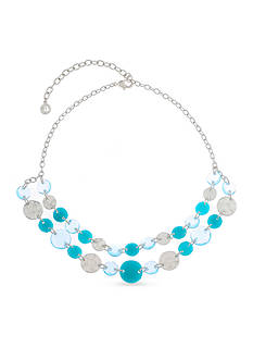 Gloria Vanderbilt Silver-Tone Chiclet Turquoise Statement Necklace