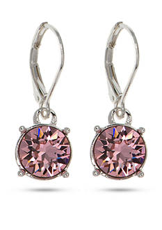 Gloria Vanderbilt Silver-Tone Swarovski® Rose Crystal Drop Earrings