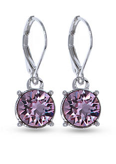 Gloria Vanderbilt Silver-Tone Swarovksi® Violet Drop Earrings