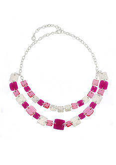Gloria Vanderbilt Silver-Tone Spring Chicklet Statement Necklace