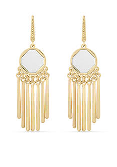 Laundry by Shelli Segal Gold-Tone Leather Inlay Chandelier Earrings