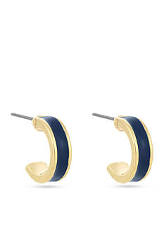 Laundry by Shelli Segal Gold-Tone Small Enamel Hoop Earrings