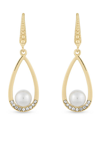 Laundry by Shelli Segal Gold-Tone Pearl Teardrop Earrings