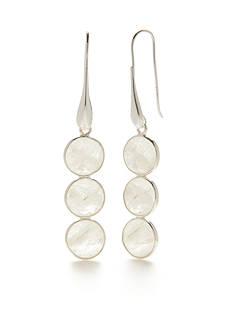 SURCEE Sterling Silver Triple Moonstone Drop Earrings